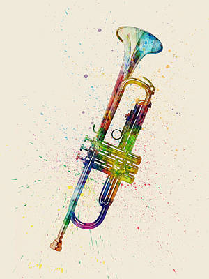 Trumpet Abstract Watercolor Poster by Michael Tompsett