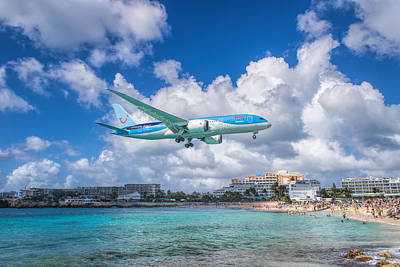Tui Airlines Netherlands Landing At St. Maarten Airport. Poster by David Gleeson