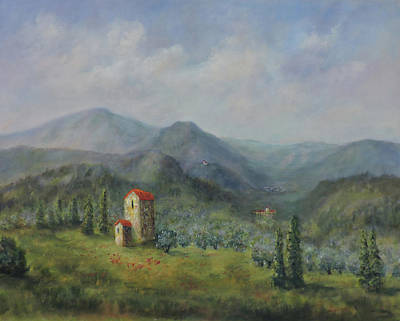 Poster featuring the painting Tuscany Italy Olive Groves by Katalin Luczay