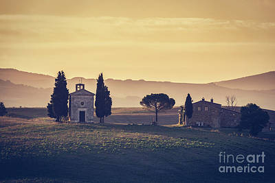 Tuscany Landscape At Sunrise. Chapel Of Madonna Di Vitaleta, San Quirico D'orcia, Italy Poster by Michal Bednarek