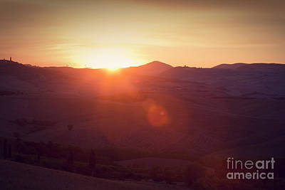 Tuscany Landscape At Sunrise Poster by Michal Bednarek