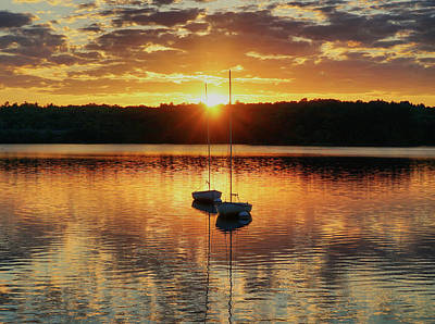 Two Boats At Sunset Poster by Lilia D