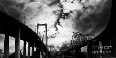 Two Bridges One Moon Poster by Wingsdomain Art and Photography