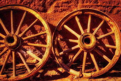 Two Old Wagon Wheels Poster