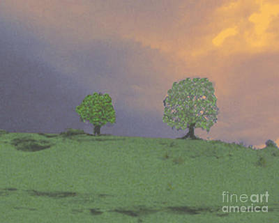 Two Trees On A Hill Poster by Merton Allen
