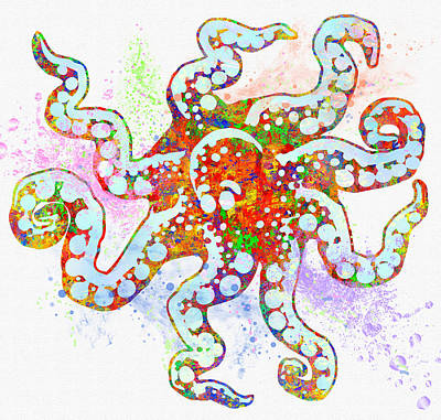 Underwater. Octopus. Poster by Elena Kosvincheva