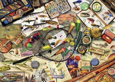 Vintage Fishing Poster by Aimee Stewart