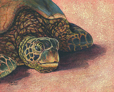 Poster featuring the painting Honu At Rest by Darice Machel McGuire