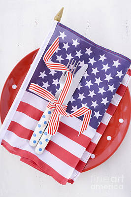 Usa Party Table Place Setting With Flag On White Wood Table.  Poster by Milleflore Images