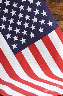 Usa Stars And Stripes Flag On Dark Wood Poster