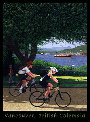 Vancouver Bike Ride Poster Poster by Neil Woodward