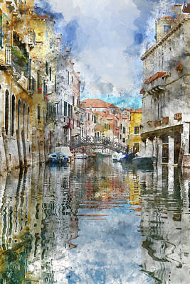 Venice Italy Canals With Colorful Buildings Poster by Brandon Bourdages