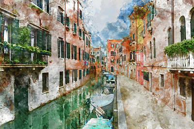 Venice Italy Canals With Colorful Houses And Boats Poster by Brandon Bourdages