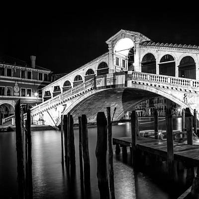 Venice Rialto Bridge At Night - Monochrome Poster