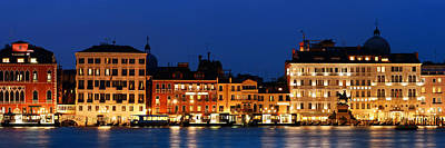 Poster featuring the photograph Venice Skyline At Night Panorama by Songquan Deng