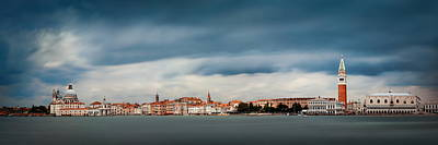 Poster featuring the photograph Venice Skyline Panorama by Songquan Deng