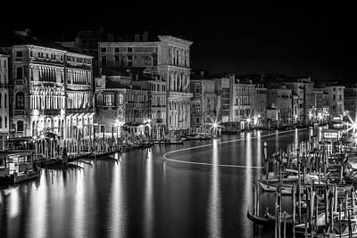 Venice View From Rialto Bridge - Monochrome Poster