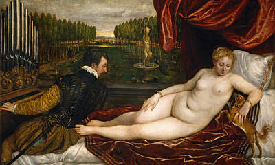 Venus With An Organist And A Dog Poster by Titian