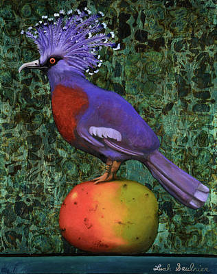 Victoria Crowned Pigeon On A Mango Poster by Leah Saulnier The Painting Maniac