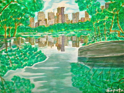 View From Oak Bridge Central Park Poster