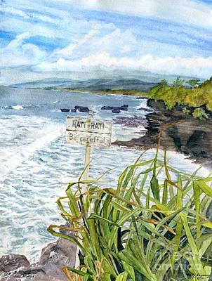 Poster featuring the painting View From Tanah Lot Bali Indonesia by Melly Terpening