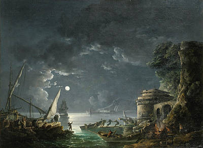 Poster featuring the painting View Of A Moonlit Mediterranean Harbor by Carlo Bonavia