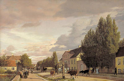 View Of A Street In Osterbro Outside Copenhagen. Morning Light Poster by Christen Kobke