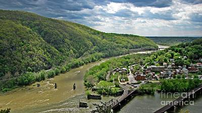 View Of Harpers Ferry From Maryland Heights Overlook Poster by Ben Schumin