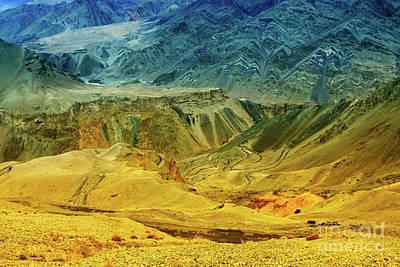View Of Moonland Lamayuru Ladakh Jammu And Kashmir India Poster