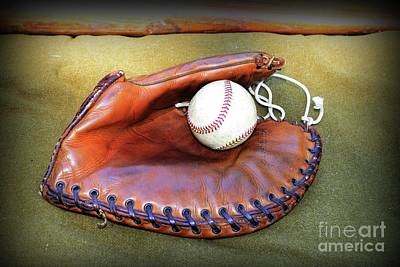 Vintage Baseball Glove Poster by Paul Ward