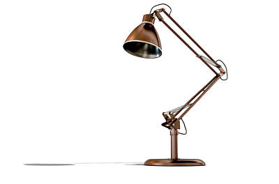 Vintage Copper Desk Lamp Poster