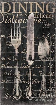 Vintage Dining Utensils In Black  Poster