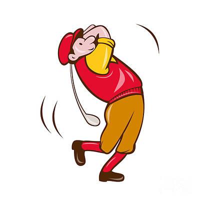 Vintage Golfer Swinging Club Teeing Off Cartoon Poster by Aloysius Patrimonio