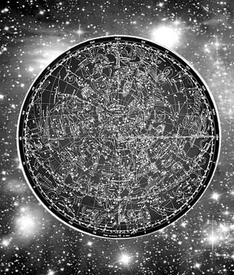 Vintage Zodiac Map - Black And White Poster by Marianna Mills
