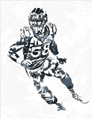 Von Miller Denver Broncos Pixel Art 4 Poster