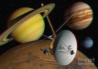 Voyager Spacecraft, Stereo Image Poster by David Ducros