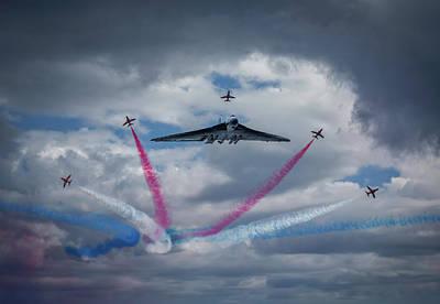 Vulcan Xh 558 Farewell Arrows Tribute Poster by Smart Aviation Art