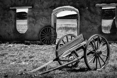 Wagon Wheels In Bw Poster by James Barber