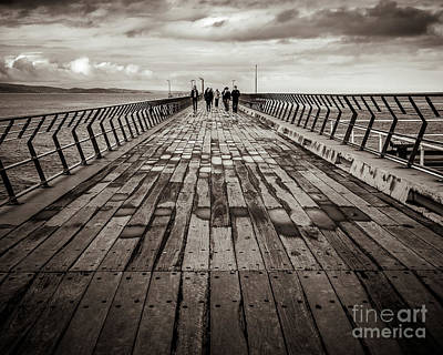 Poster featuring the photograph Walking The Pier by Perry Webster