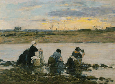 Washerwomen By The River Poster by Eugene Boudin