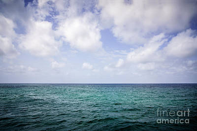 Water Horizon With Clouds And Blue Sky Poster