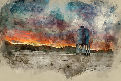 Watercolour Painting Of Beautiful Landscape Sunrise Stilt Lighth Poster by Matthew Gibson