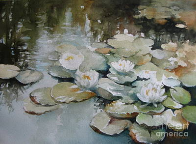 Poster featuring the painting Waterlilies by Elena Oleniuc