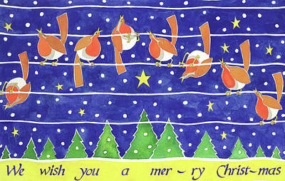 We Wish You A Merry Christmas Poster by Cathy Baxter