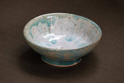 White Ceramic Bowl With Turquoise Blue Glaze Drips Poster by Suzanne Gaff