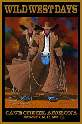 Poster featuring the painting Wild West Days Poster/print  by Lance Headlee