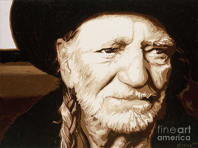 Poster featuring the painting Willie Nelson by Ashley Price