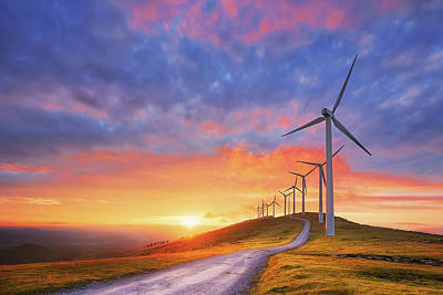 wind turbines in Oiz eolic park Poster