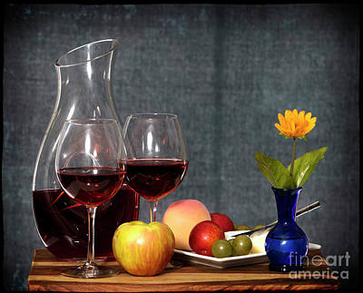 Wine And Fruit Poster by Cecil Fuselier