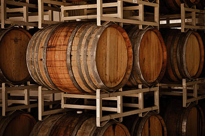Wine Barrels In Cellar Poster by Brandon Bourdages